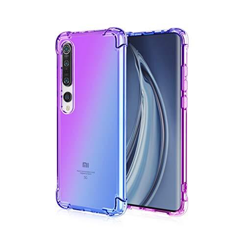 HAOYE - Custodia per Xiaomi Mi 10 5G, Colore sfumato, Ultra Sottile, Trasparente, Anti-Macchia, in Morbido Silicone TPU Antiurto, con Angoli rinforzati, Viola/Blu, Xiaomi Mi 10 5G