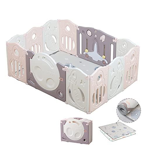 Bamitus - Parque de Juego para Bebe Plegable, Nuevo Panel Extra Grande, Parque Infantil de Plástico, Barrera Seguridad, Corralito 12 Paneles (Espacio Rosa, 120x160 cm)