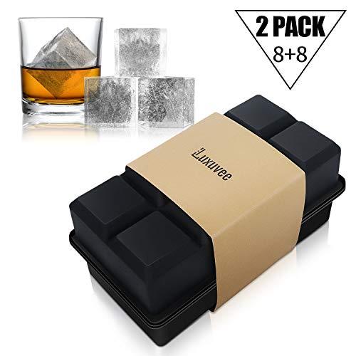 Luxuvee Eiswürfelform Silikon XXL 2er Pack Eiswürfelbehälterl Großer Quadratischen Eiswürfel Form Ice Cube Tray Wiederverwendbar für Bier Cocktails Whisky