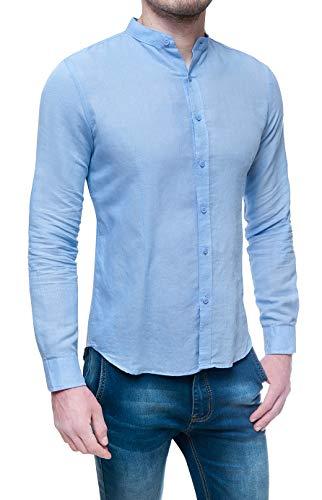 Evoga Camicia di Lino Uomo Sartoriale Estiva Celeste Slim Fit con Collo alla Coreana (L, Celeste)