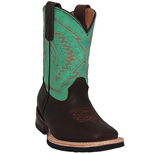 Kids Western Boots Girls Cowgirl Cowboy Boot (1.5 Little Kid, Teal Brown)