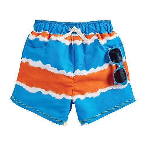 Mud Pie Boys Tie Dye Stripe Trunks with Sunglasses, Blue, 12-18 Months