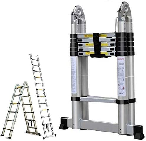 popular 16.5FT Aluminum Telescoping Extension Ladder 2021 330lbs Max Capacity A-Frame Lightweight Portable outlet sale Multi-Purpose Folding with Support Bar Anti-Slip EN131 Certificated sale