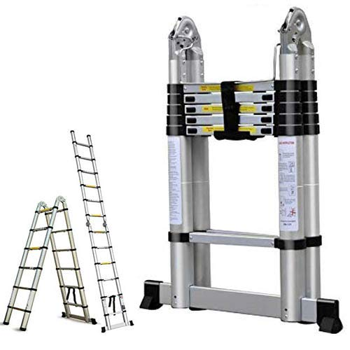 16.5FT Aluminum Telescoping Extension Ladder 330lbs Max Capacity A-Frame Lightweight Portable Multi-Purpose Folding with Support Bar Anti-Slip EN131...