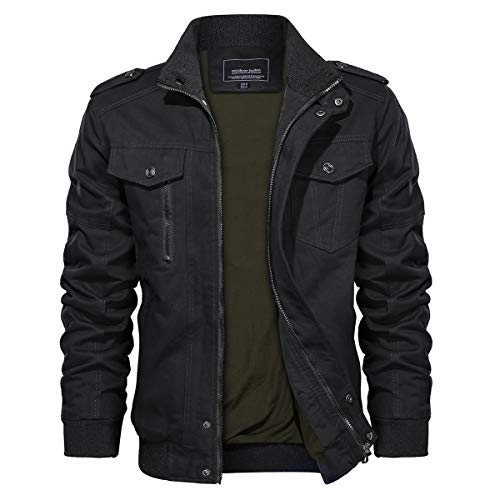 TACVASEN Military Jacket Men Stand Collar Lightweight Front Zip Coat Black, L