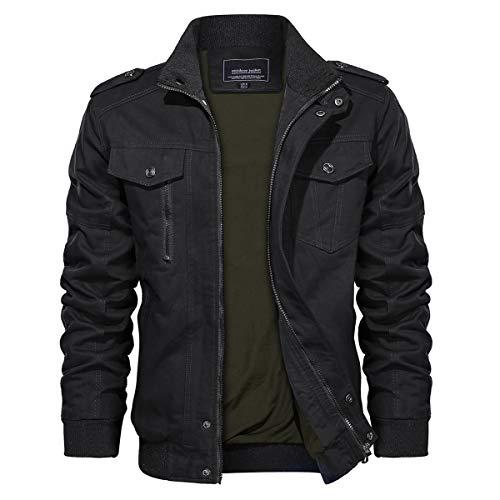 TACVASEN Military Jacket Men Stand Collar Lightweight Front Zip Coat Black, M