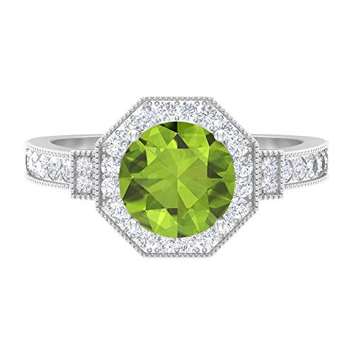 Anillo solitario de 8 mm, D-VSSI Moissanita, anillo de compromiso Art Déco, oro blanco de 14 quilates verde