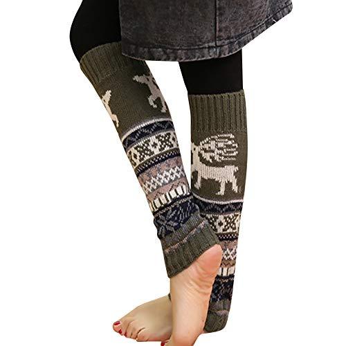 UJUNAOR Weihnachten Frauen Stricken Socken Dicke Kitz Schneeflockensocken Kniebundstrumpf Teppichsocken(Armeegrün,One Size)