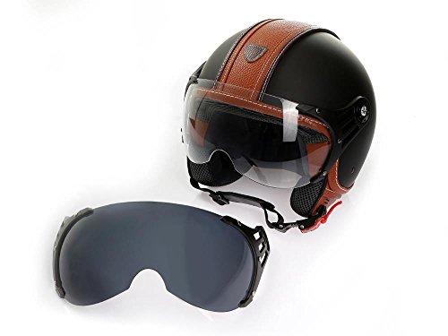 Motorradhelm Jethelm Rollerhelm CMX Hazel Größe M matt schwarz mit braunem Leder und klarem Visier + Zusatzvisier getönt
