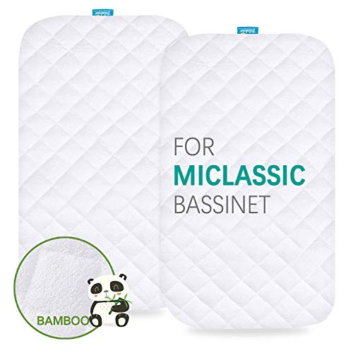 Waterproof Bassinet Mattress Pad Cover Compatible with MiClassic 2in1 Stationary&Rock Bassinet, 2 Pack, Ultra Soft Bamboo Sleep Surface, Breathable and Easy Care