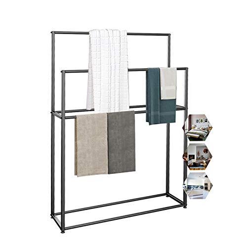 Soporte de toalla independiente, 4 barras de metal toallero para baño, piscina, cocina, baño