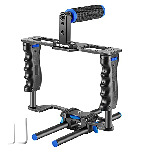 Neewer Aluminum Alloy Camera Video Cage Film Movie Making Kit, with Top Handle, Dual Hand Grip, Two 15mm Rods, Compatible with Canon, Sony, Fujifilm, and Nikon DSLR Camera and Camcorder (Black + Blue)
