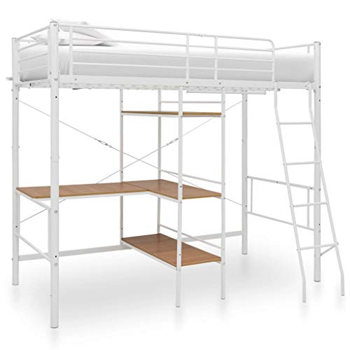 Tidyard Bunk Beds with Table Frame/Bunk Bed for Adults White Metal 90x190 cm