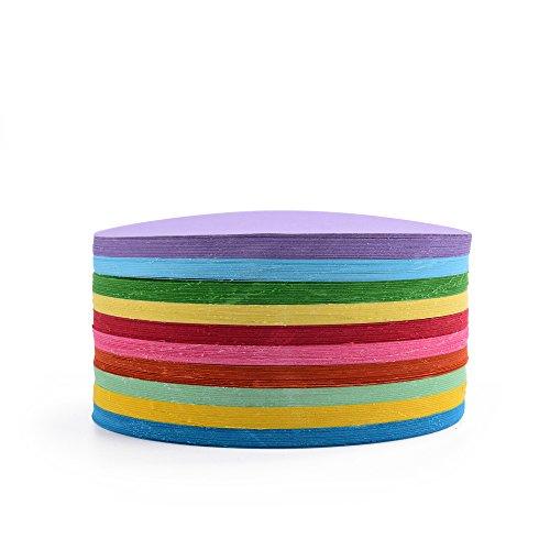 EAST-WEST Trading Faltpapier, rund, 500 Blatt, 10 cm Durchmesser, 70 g/qm 10 Farben - Bunte hochwertige Faltblätter für Origami und Bastelprojekte