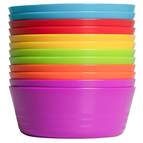 Klickpick Home Set Of 12 Kids colorful Snack Bowls set Toddlers Cereal Bowl Set Children Bowl Kid Microwave Dishwasher Safe BPA Free Bowls - 6 colors