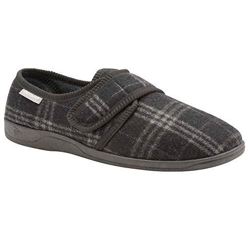 Dunlop Herren Merrick Touch Verschluss Pantoffeln - Grau Kariert, 47 1/3