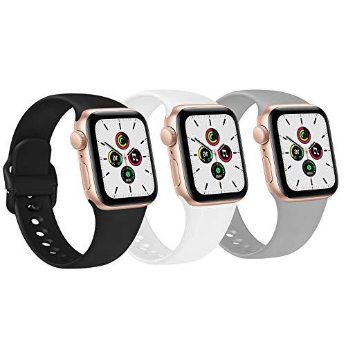 FUUI Correa Compatible con Apple Watch 38mm 42mm 40mm 44mm, Pulseras de Repuesto de Silicona Suave para iWatch Series 6 5 4 3 2 1 SE, Mujer y Hombre(3 Pack)(42mm/44mm M/L, Negro/Blanco/Gris)