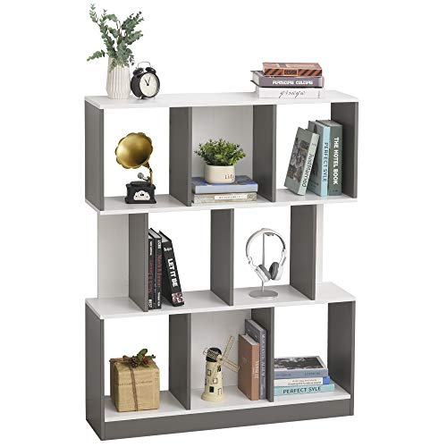 HOMCOM Bücherregal Standregal Büroregal Aktenregal für Büro Wohnzimmer Arbeitszimmer MDF Grau+Weiß 100 x 24 x 124 cm
