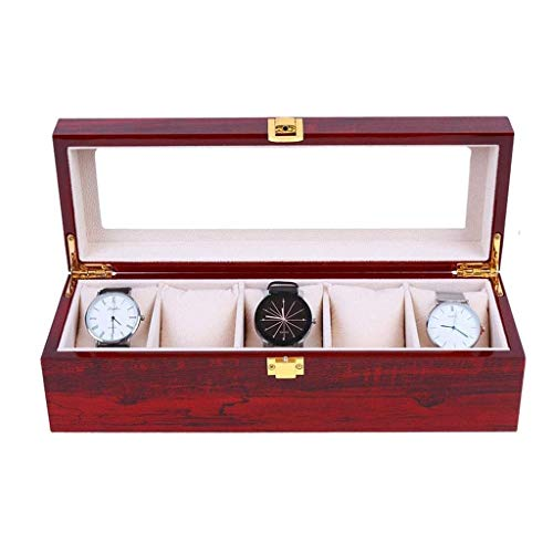 GYDSSH Caja de almacenaje de la joyería, Reloj Organizador, Caso de Almacenamiento de 6 Ranura de Cuero de la PU, Regalos Regalos de cumpleaños for Hombres y Mujeres, Rojo