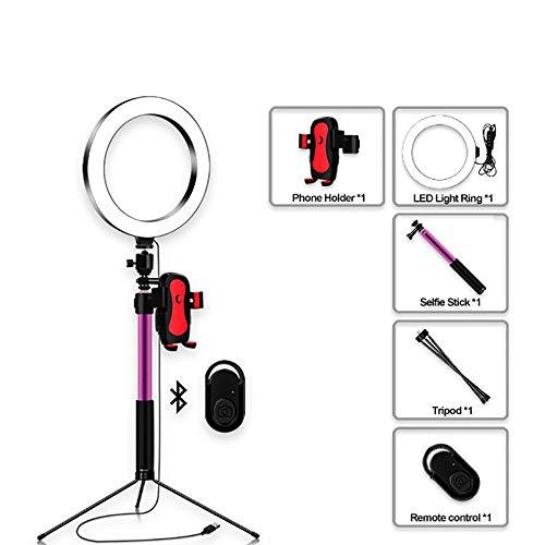 ZJING LED-ringlicht Mit Stativ Und Telefonständer, Dimmbares Desktop-Make-up-ringlicht Für Die Fotografie, Geeignet Für Smartphones,B