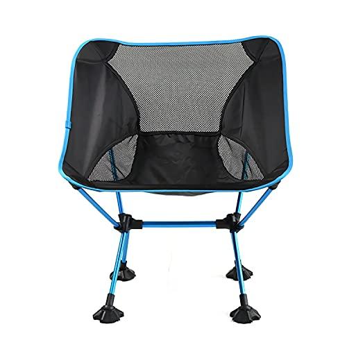 LUKKC Ultralight Folding Beach Camping-Stuhl Mit Entfallenden Breiten Füßen, Tragbarer Kompakter Für Außenlager, Strand, Reisen, Picknick, Wandern, Leichter Rucksack,Blau