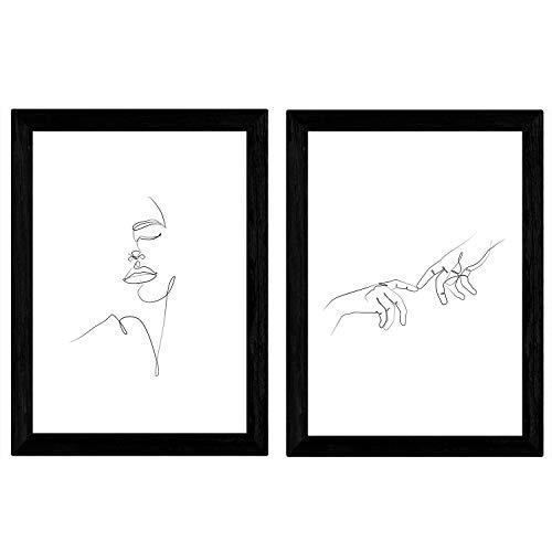 """Nacnic Satz von 2 Blatt Zeichnungen mit einem Schlag """"Händen des Mannes und Gesicht der Frau"""". Poster mit Einer einzigen Zeile. A3 Größe ohne"""