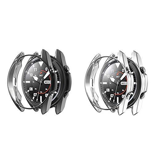 RLTech Funda para Samsung Galaxy Watch 3 45mm, Ultra Delgada Silicone Anti-Rasguños Case Cover para Samsung Galaxy Watch 3 45mm (Negro&Plata)