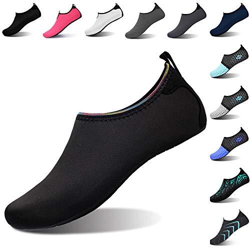 L-RUN Mens Womens Swim Shoes Summer Beach Sand Walking Shoes Black L(W:8.5-9.5,M:7-7.5)=EU39-40