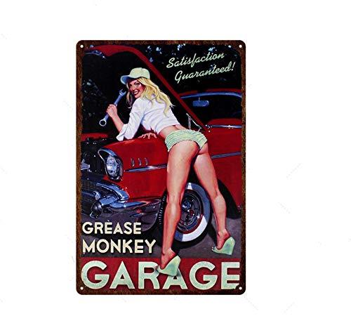 Vintage Metall Plakette Poster Zinn Zeichen Mädchen Bucht Auto Motor Öl Auto Garage Zeichen Wand Art Deco Poster Wand Plakette Brett 20x30cm 21