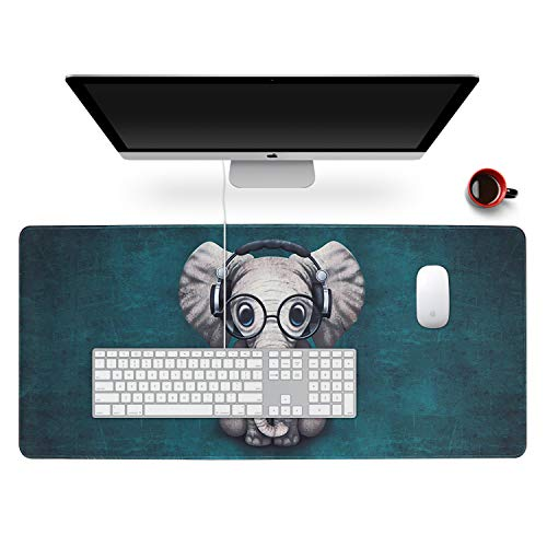 """Anyshock Desk Mat, Extended Gaming Mouse Pad 35.4"""" x 15.7"""" XXL Keyboard Laptop Mousepad with Stitched Edges Non Slip Base, Water-Resistant Computer Desk Pad for Office and Home (Cute Elephant)"""