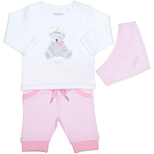 Unisex Baby 3-teiliges Geschenkset | Langarm-Shirt Hose Halstuch | White Rosa Größe 50 für Jungen und Mädchen