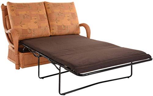 korb.outlet Edles Wohnzimmer Schlafsofa Prince Rattan-Sofa mit Schlaffunktion 2-Sitzer Liegesofa Rattansofa (Terracotta) - 5
