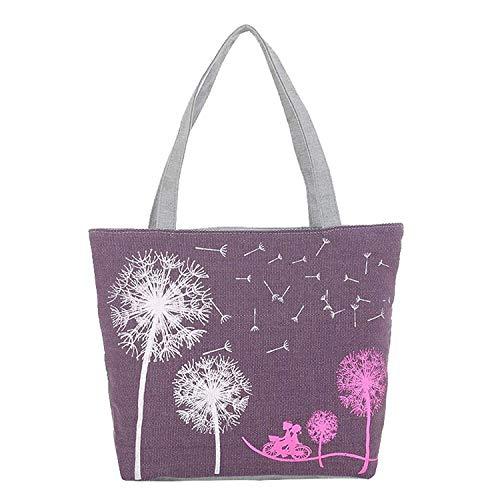 Alessioy Handtaschen Damen Leinwandbild Pusteblume Tasche Blumen Frauen Mädchen Handtasche Umhängetaschen Messenger Taschen Violett (Lila) Zsl 123 (Color : Violett, Einheitsgröße : Einheitsgröße)