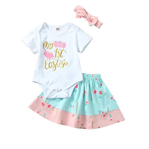 Julhold Conjunto de falda para beb recin nacido con diseo de conejo de Pascua + falda tut estampada con flores + diadema 3 piezas