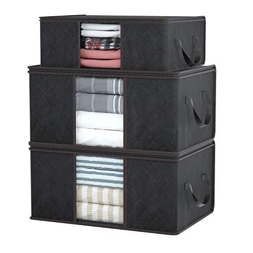 DIMJ 3 Stück Aufbewahrungstasche Faltbare Aufbewahrungsboxen, Große langlebige für Bettwäsche, Kleidung, Decken, Kissen Quilt Saison Artikel Lagerung (Schwarz)