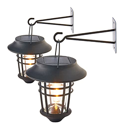 Solar Sconce Lights, Outdoor - 2 Pack Wall Mounted Hanging Carriage Lanterns, Waterproof, Dusk to Dawn Sensor, Warm White LED Light, Solar Battery Powered, Decorative Exterior Barn Lighting