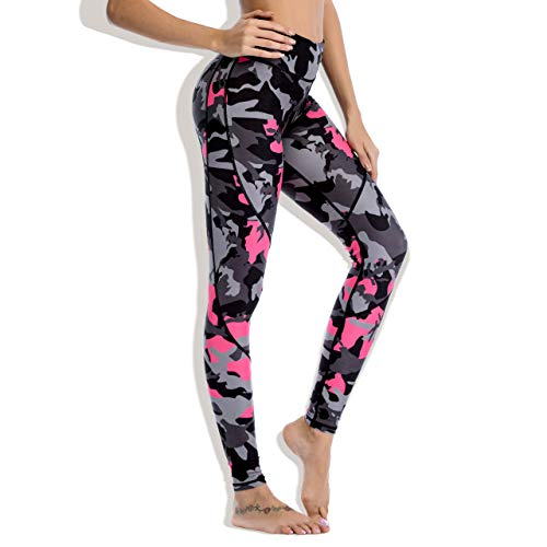 Chisportate Women High Waist Yoga Legging Power Flex Tummy Control Workout Stretch Sport Yoga Pants for Gym Exercise Fitness Camouflage