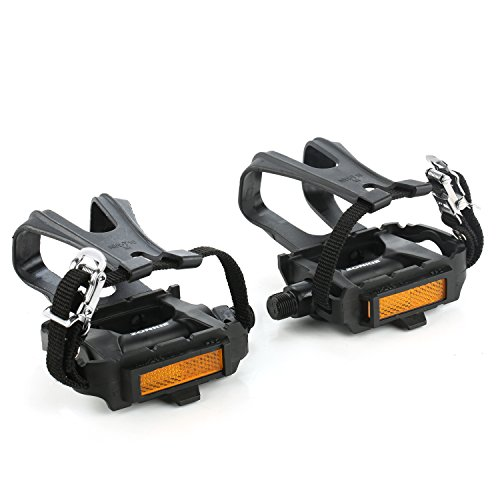zonkie Bike Pedals with Toe Clip and Strap, 9/16 Inch