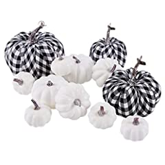 Quantity: Package includes 12pcs (3pcs plaid +9pcs white) Artificial Fall Harvest Pumpkins in assorted sizes and colors. Dimension:Sizes range from 1.77-6.1 inch in diameter, 2.36-5.91 inch in high.. Material: These Faux Pumpkins are made of dense fo...