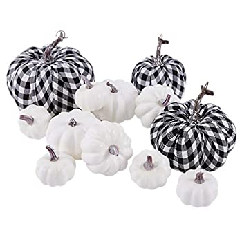 Mimacoo 12PCS Artificial Pumpkins Set,Large White Pumpkins and Cloth Black White Plaid Fabric Pumpkins in Different Sizes for Fall Harvest Festival Thanksgiving or Halloween Decor Decoration