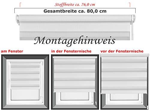 Doppelrollo in 4 Farben & in 8 Größen – mit Klemmfixierung am Fensterahmen und fest montierter Trägerschiene – kinderleichte 3-Step Montage, ca. 80 x 150 cm, weiß - 3