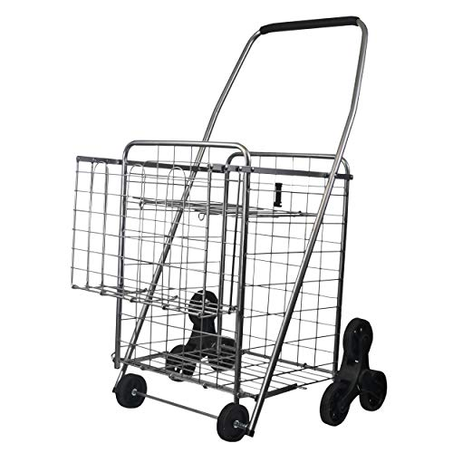 Helping Hand FQ39909 3-Wheel Stair Climbing Shopping Cart with 2nd Basket and Collapsible Shelf, Silver