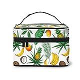 DJNGN Bolsa de Maquillaje con Hojas de Frutas Tropicales, Organizador portátil de Viaje para cosméticos, Estuche multifunción con Doble Cremallera, Neceser para Mujer (9 'x6,2' x6,5 ')