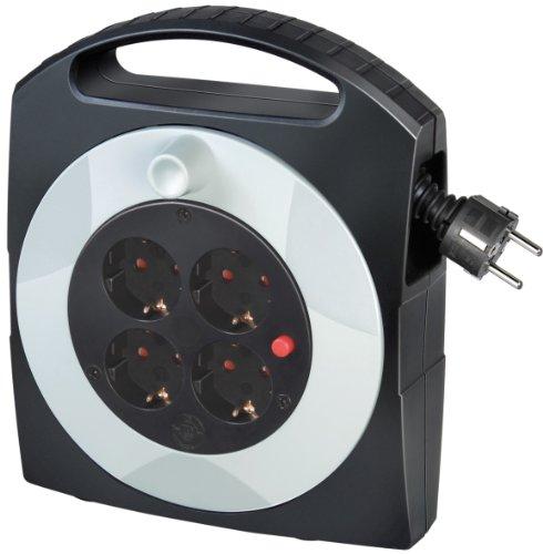 Brennenstuhl Primera-Line Kabelbox 4-fach / Mini-Kabeltrommel (Indoor-Kabeltrommel für Haushalt,10 m Kabel, MADE IN GERMANY) schwarz/grau