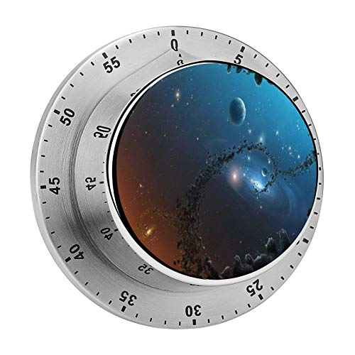 Aleonun The Timer The Sky The Earth Mechanical Timer Built-in 70 Decibel Alarm Clock Digital Kitchen Timer One Button Operation for Kids and Elderly,Timers for Cooking Classroom Homework, Metal