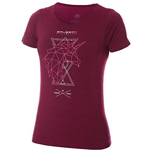 BRUBECK Trekking Shirt Damen   Sportshirt mit Aufdruck   Funktionsshirt Outdoor Frauen   Wandershirt atmungsaktiv   Short Sleeve Shirt Hiking   27% Merino-Wolle   Gr. XL   Pflaume   SS12720A