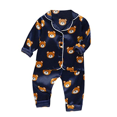 Julhold Toddler Baby Boys Cute Fashion Long Sleeve Cartoon Bear Cotton Tops+Pants Pajamas Sleepwear Outfits 1-5 Years Navy