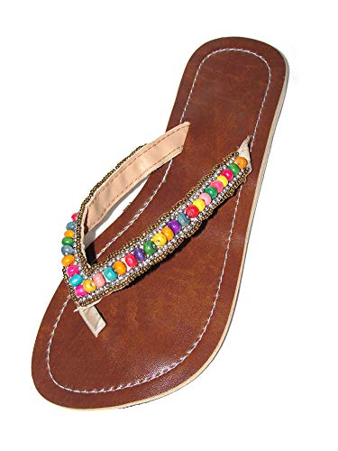 Damen Flip Sandale Salsa Zehenpantolette Sommersandale Zehenstegsandale mit bunten Holz-Perlen, sowie Perlen in Silber und Gold