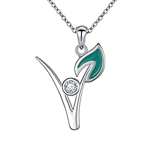 Ladytree S925 Sterling Silver Vegan Necklace Cubic Zirconia Green Symbol Necklace for Vegetarian Women,18 inches