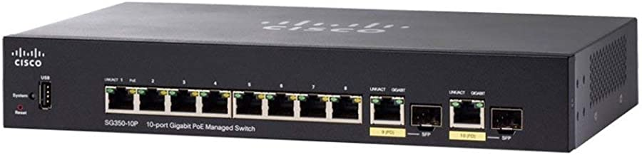 $209 Get Cisco Systems SG350-10P-K9-NA SG350-10P 10-Port Gigabit PoE Managed Switch